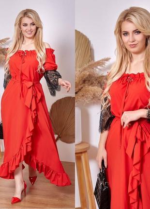 Платье красное длинное вечернее