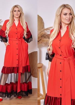 Шикарное платье красное вечернее