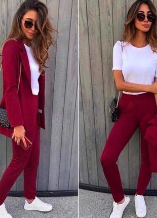Костюм женский брючный стиль деловой пиджак и брюки цвет марсала1 фото