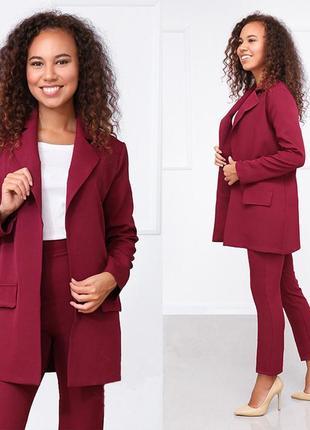Костюм женский брючный стиль деловой пиджак и брюки цвет марсала2 фото