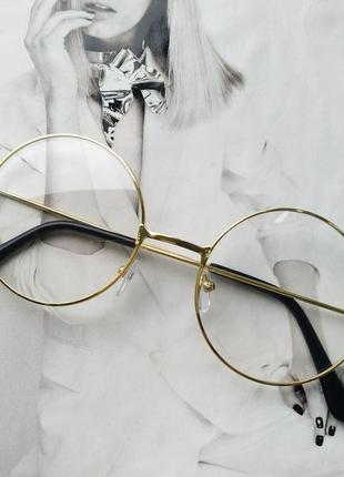 Круглые ретро имиджевые очки тишейды золото