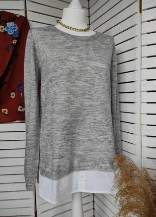 Серый свитерок с имитацией рубашки esmara