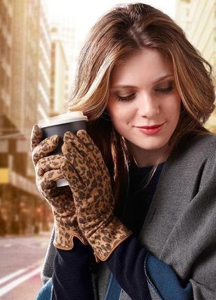 Красивые леопардовые перчатки tchibo германия
