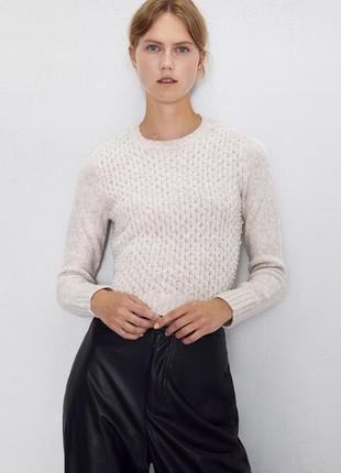 Тёплый свитер с вышивкой бисером свитшот с жемчужинами