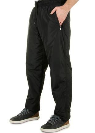 Мужские теплые спортивные штаны из плащевки на флисе (1625)