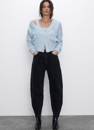 Новые черные свободные джинсы slouchy слоучи с высокой посадкой новая коллекция zara 34