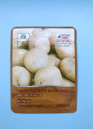 Корейская тканевая маска с картошкой 3w clinic fresh potato mask sheet