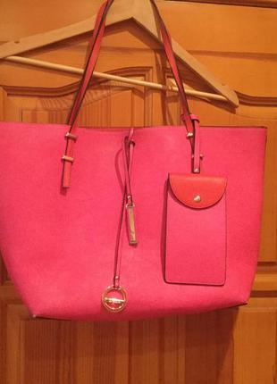 Мягкая малиновая сумка-шопер