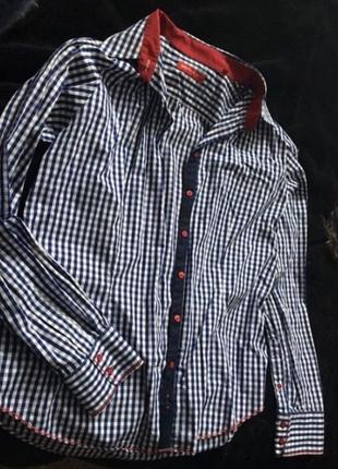 Рубашка в клеточку синяя с красным berkeley