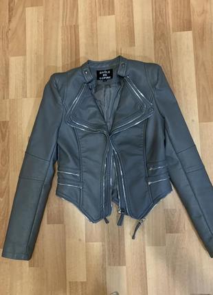 Куртка кожаная короткая цвет серый
