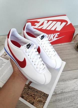 Nike classic cortez оригинальные кроссовки найк кортез белый цвет кожа (36-40)✅