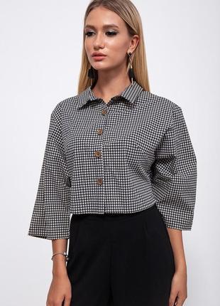 Новая очень стильная женская рубашка в принт гусиную лапку с прямыми рукавами 3/4