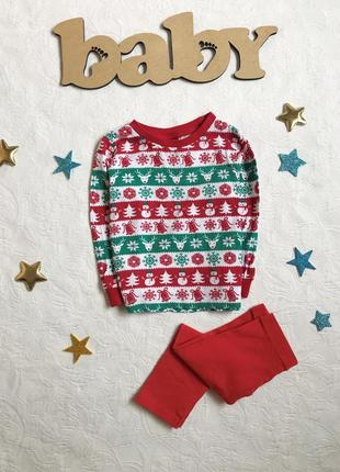 Новогодний костюм/пижамка, кофта и штанишки next/baby