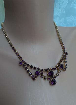 Колье чехословакия яблонекс фиолетовые граненные кристаллы винтаж позолота