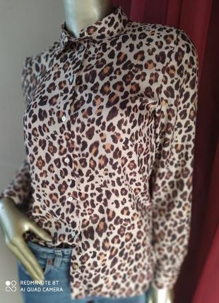 Леопардова шовкова рубаха h&m