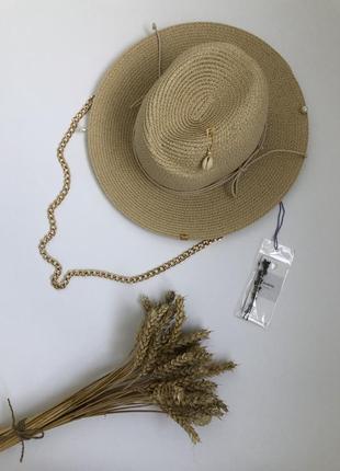 Соломенная шляпа фёдора рафия солома fedora