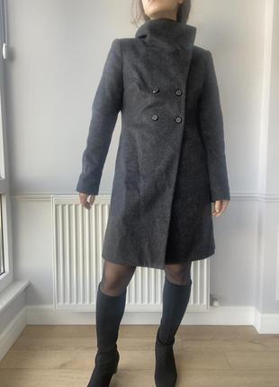 Шерстяное пальто benetton, до колена,с высоким воротом