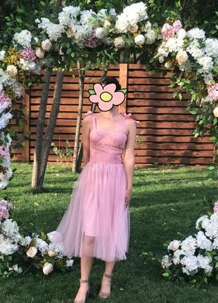 Пудровое платье бюстье