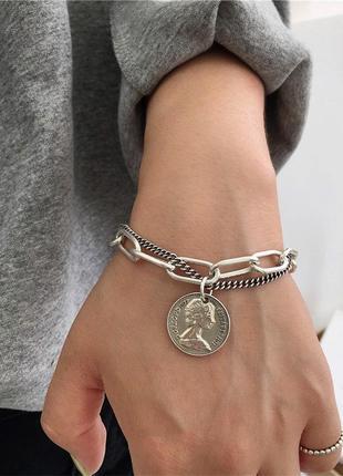 Браслет на руку цепь цепочка с кулоном монеткой под серебро новый