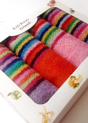Набор махровых салфеток для кухни 4 шт 30х30 см разные цвета