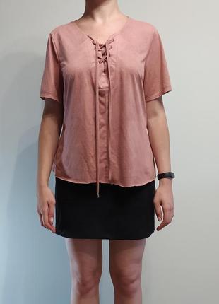 Блуза atmosphere зі шнурівкою, з коротким рукавом/блуза на шнуровке