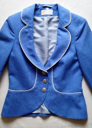 Женский деловой пиджак жакет приталенный голубой льняной