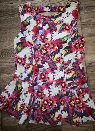 Цветочная блуза с баской, цветы