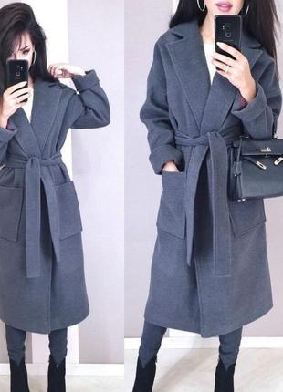 1794.    кашемировое темно серое пальто