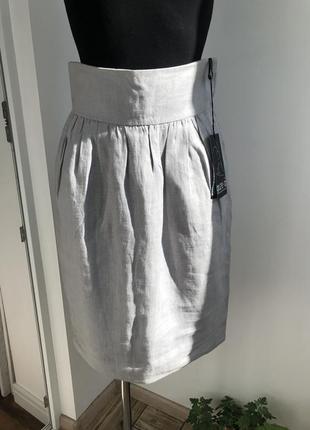 Льняная юбка с высоким поясом