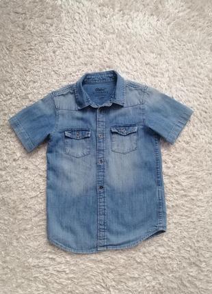 Фирменная джинсовая рубашка rebel рост 110-116см