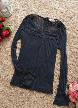 Женская блуза , лонгслив, кофта в рубчик , кружево , блузка