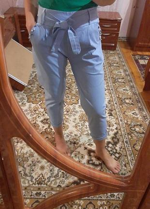 Голубые коттоновые прогулочные  брюки