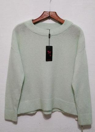 Стильный теплый шерстяной свитер мятного цвета большого размера