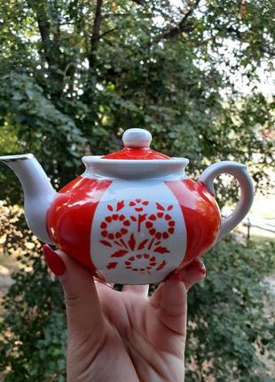 Чайник заварной вербилки ссср фарфор 1954 год деколь миниатюра
