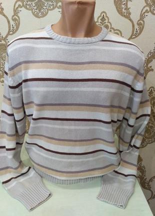 Fishbone серый полосатый свитер, 100% коттон, размер l