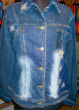 Красивая оригинальная джинсовая куртка