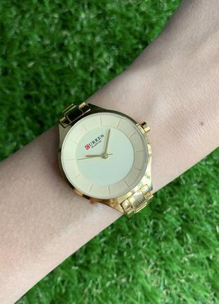 Женские наручные часы металлические curren blanche золотистые цвета золото