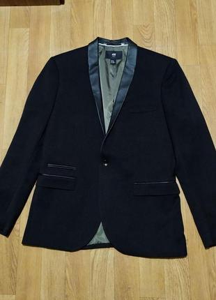 Пиджак h&m черный с кожаными вставками