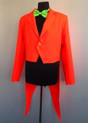 Неоновый оранжевый фрак смокинг 46 костюм карнавальный с бабочкой