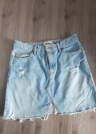 Юбка спідниця джинс голубая низ не обработан размер 12
