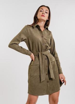 Вельветовое платье-рубашка 42-48 р.