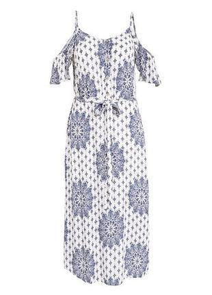 Белое натуральное платье миди с принтом f&f