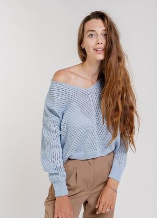 Женский вязаный пуловер oversize ажурный