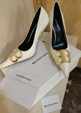 Туфли лодочки белые balenciaga кожа