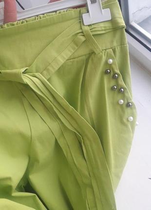 Хлопковые нарядные штаны брюки укороченные