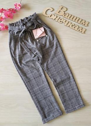 Нарядные школьные брюки штаны в клетку