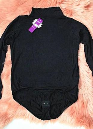 Боди\комбидрес новый с биркой и упаковкой черный с горлом и рукавами (к000)