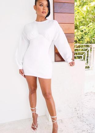 Коктейльное белое базовое платье мини