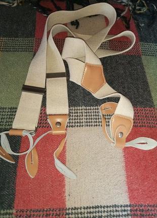 Подтяжки винтажные с кожаными петлями