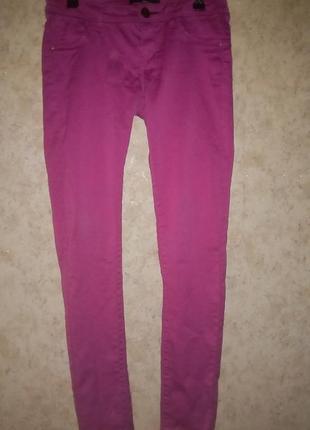 Джинсы  брюки скини розовые